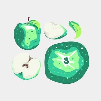 Груша и листья коллекции фруктов векторный дизайн