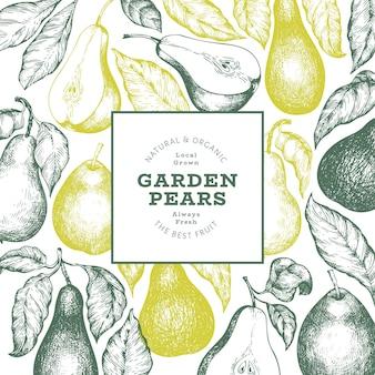 배 디자인 템플릿입니다. 손으로 그린된 벡터 정원 과일 그림입니다. 새겨진된 스타일 정원 복고풍 식물 배너입니다.