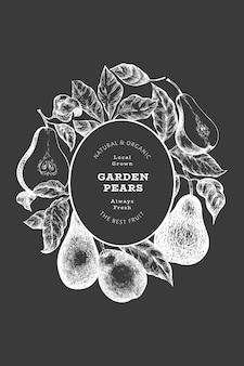 배 디자인 템플릿입니다. 분필 보드에 손으로 그린 벡터 정원 과일 그림. 레트로 식물 배너입니다.