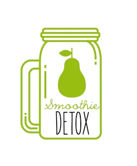 Pear detox icon. smoothie and juice design. vector graphic