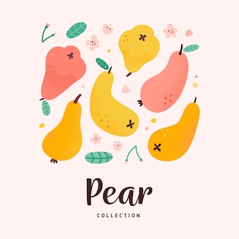 Pear fruit collection,  illustration