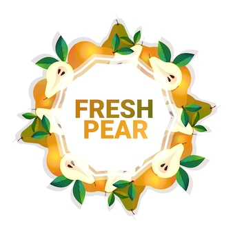 Pear fruit colorful circle copy space organic over white pattern background