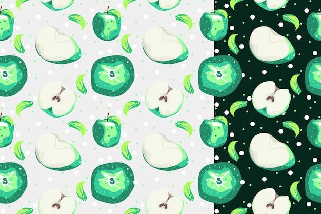 明るい背景と暗い背景の梨フルーツグラデーションシームレスパターン