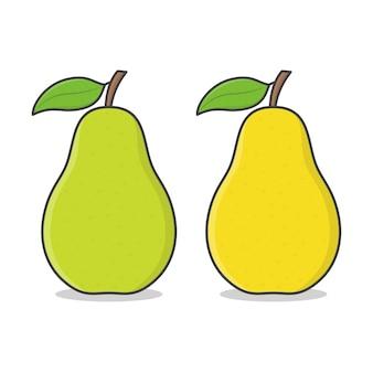 Груша. зеленая и желтая груша