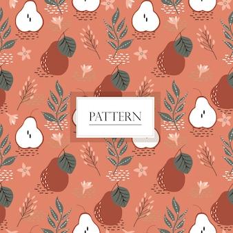 Pear fruit and jasmine flower seamless pattern
