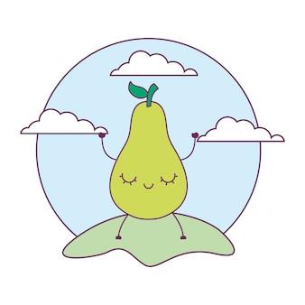 Pear fruit kawaii in landscape
