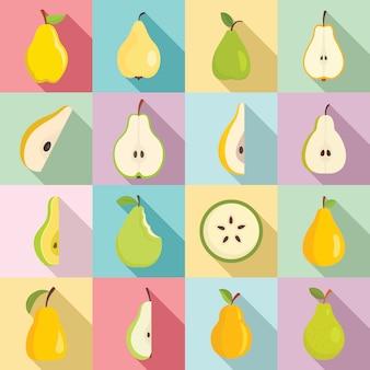 Pear icons set, flat style