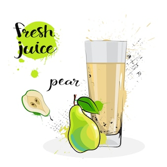 Pear juice fresh hand drawn watercolor fruit and glass on white background