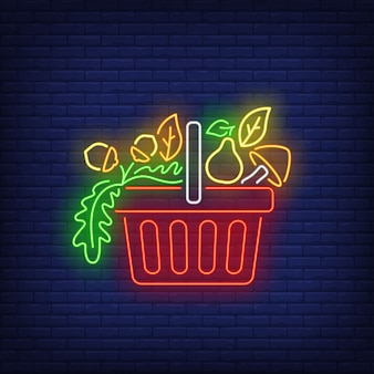 Pear, mushroom and hazelnuts in shopping basket neon sign