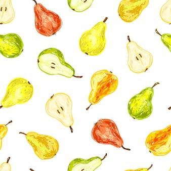 梨のシームレスなパターン。明るくカラフルなイラスト