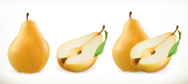 Pear. sweet fruit. 3d set. realistic illustration