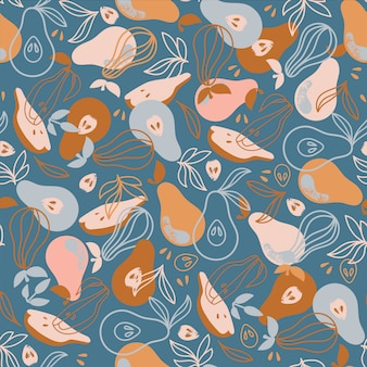 Pear textile delicious fruit nature hand drawn seamless pattern vector illustration for print