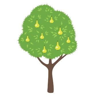 Pear tree. cartoon style.