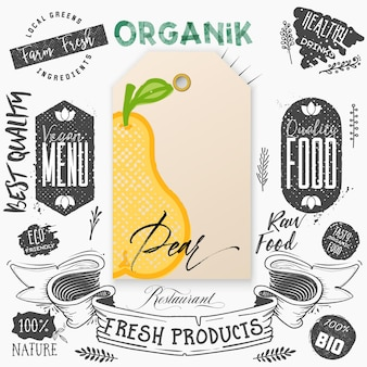 Pear word on tag Premium Vector