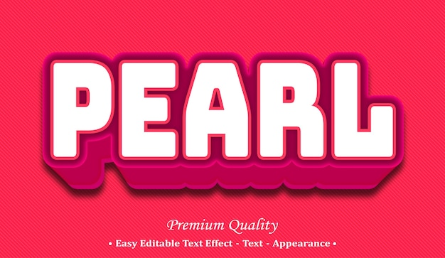 Pearl 3d editable text style effect