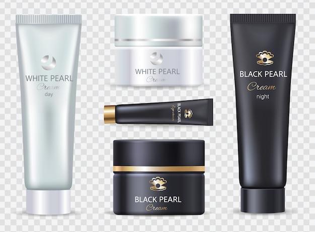 Pearl black night and white day cream set