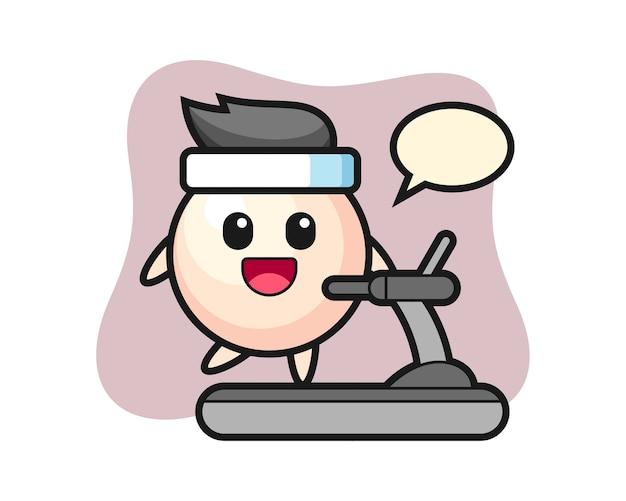 디딜 방아에 걷는 진주 만화 캐릭터