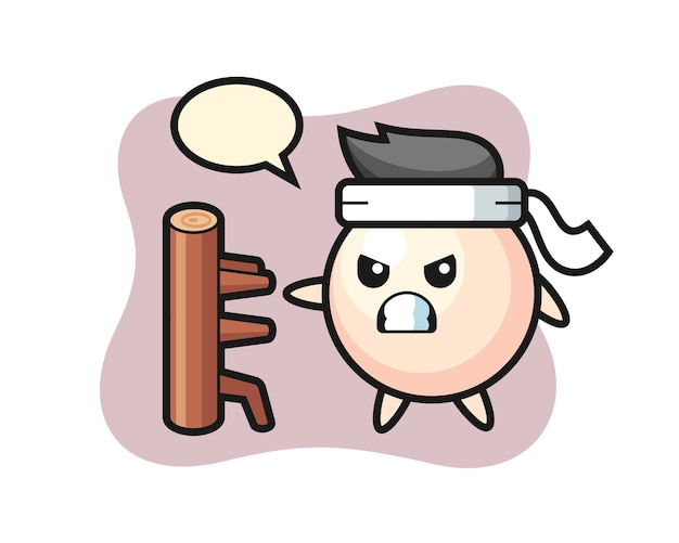 Pearl cartoon illustration as a karate fighter