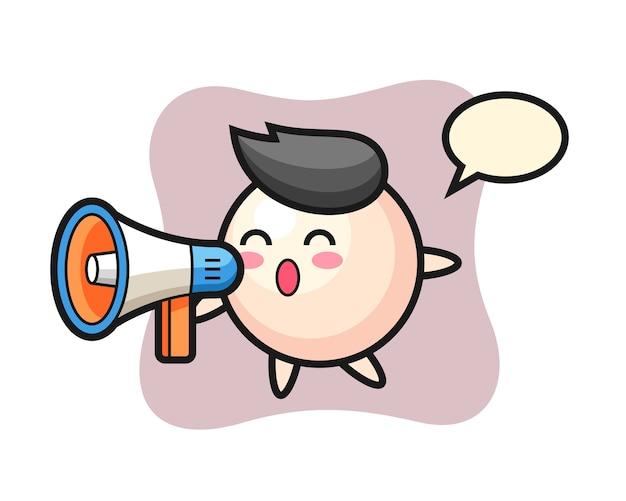 Жемчужный персонаж мультфильма держит мегафон
