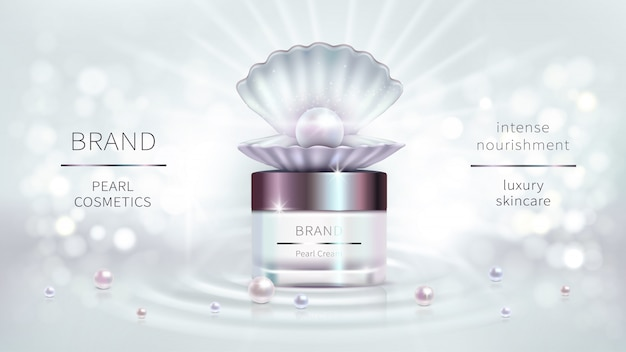 Pearl cosmetics, vector realistic advertising design