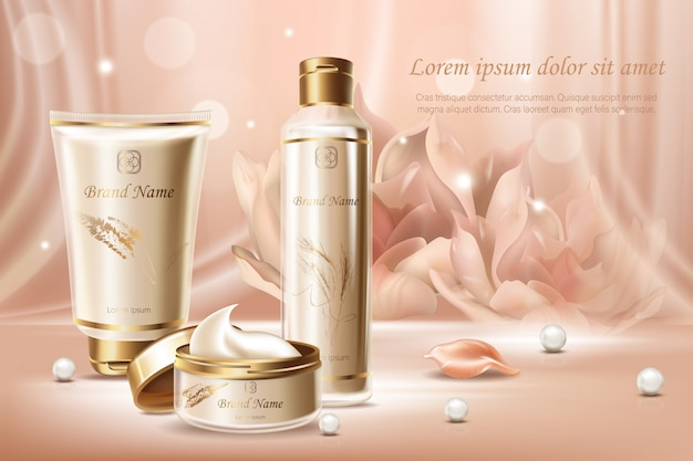 Pearl extract cosmetics advertising banner   template
