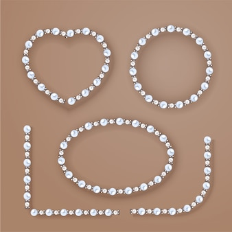 Pearl frames set on beige background.