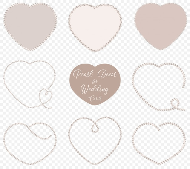 Pearl heart shapes se t for wedding decoration