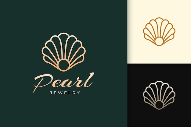 Pearl or jewelry logo in luxury and elegant fit for beauty or cosmetic industry