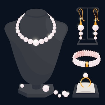 Pearl jewerly  collection - necklace, earrings, ring and bracelet