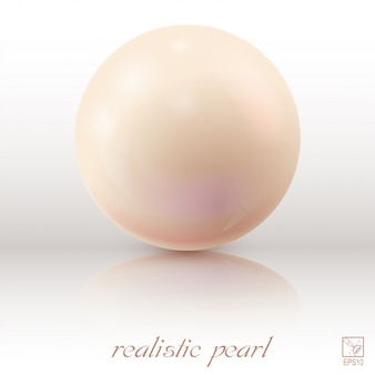 Pearl on a light background with reflection