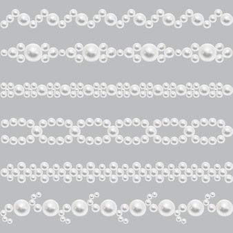 Pearl realistic seamless borders vector. set of decoration from pearl, illustration with glossy bord