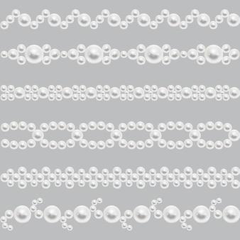 Перл реалистичные бесшовные границы вектор. набор украшений из жемчуга, иллюстрация с глянцевым бордом