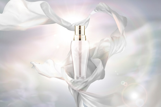 Pearl white chiffon and spray bottle  on glowing background