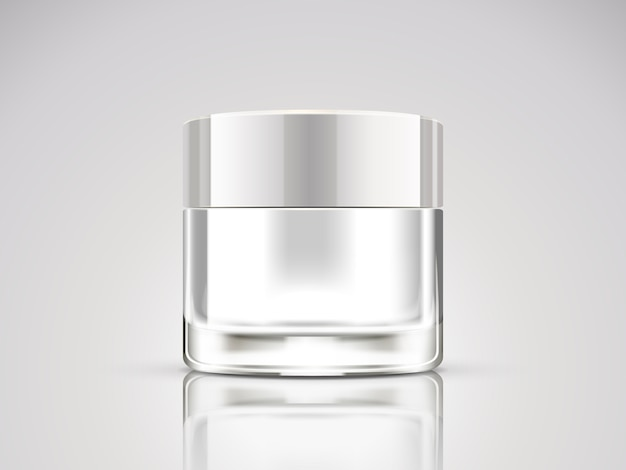 Pearl white cream jar , blank cosmetic container in  illustration