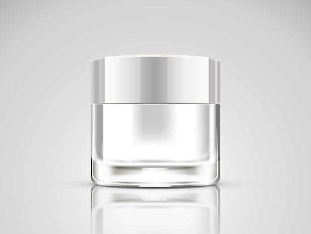 Жемчужно-белая кремовая банка, пустой косметический контейнер на иллюстрации