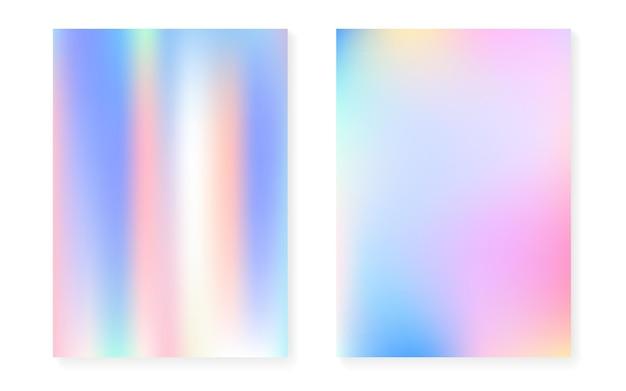 Перламутровый фон с голографическим градиентом. набор обложек голограммы. ретро стиль 90-х, 80-х. графический шаблон для книги, годового, мобильного интерфейса, веб-приложения. набор яркий перламутровый фон.