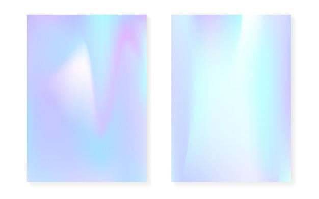 Перламутровый фон с голографическим градиентом. набор обложек голограммы. ретро стиль 90-х, 80-х. графический шаблон для флаера, плаката, баннера, мобильного приложения. неоновый перламутровый фон набор.