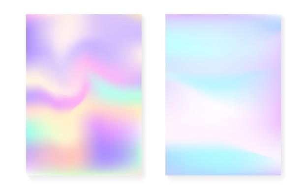 Перламутровый фон с голографическим градиентом. набор обложек голограммы. ретро стиль 90-х, 80-х. графический шаблон для флаера, плаката, баннера, мобильного приложения. набор стильный перламутровый фон.