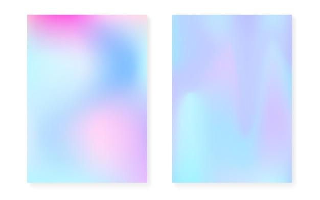 Перламутровый фон с голографическим градиентом. набор обложек голограммы. ретро стиль 90-х, 80-х. графический шаблон для плаката, презентации, баннера, брошюры. набор яркий перламутровый фон.