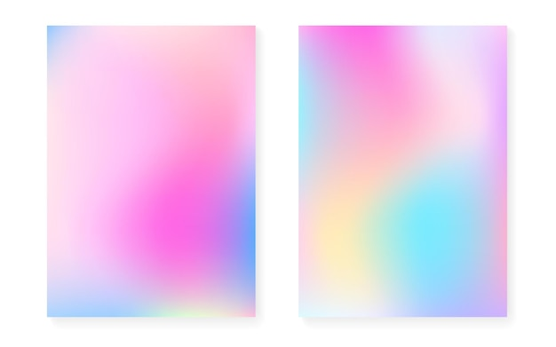 Перламутровый фон с голографическим градиентом. набор обложек голограммы. ретро стиль 90-х, 80-х. графический шаблон для плаката, презентации, баннера, брошюры. набор радужный перламутровый фон.