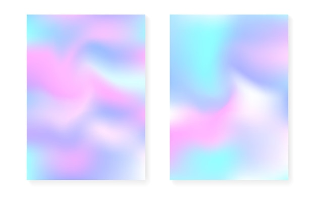 Pearlescent background with holographic gradient. hologram cover set. 90s, 80s retro style. graphic template for placard, presentation, banner, brochure. fluorescent pearlescent background set.