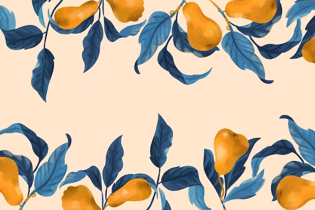 Груши и листья фон рамки в стиле рисованной