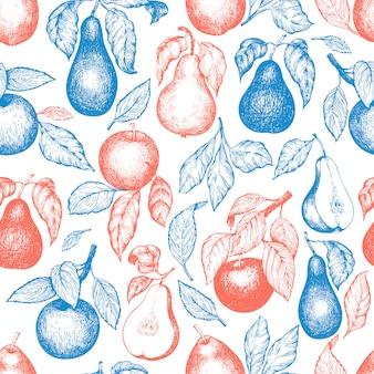 Pears and apples seamless pattern.