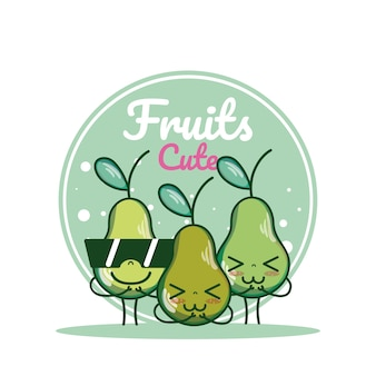 Pears cute fruits cartoons