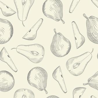 배 완벽 한 패턴입니다. 가 시즌 그림입니다. 얇게 썬 과일. 손으로 과일 질감을 그립니다. 빈티지 스타일 조각. 포장지, 섬유 인쇄용 디자인. 현대 벡터 일러스트 레이 션