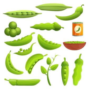 Peas elements set, cartoon style