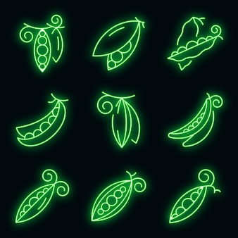 Peas icons set. outline set of peas vector icons neon color on black