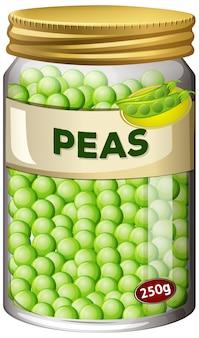 エンドウ豆はガラスの瓶に保存します