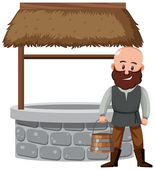 Peasant man standing beside a stone well with rooftop