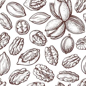 ピーカンナッツのヴィンテージスタイルのシームレスパターン。テクスチャシルエットスケッチ。植物